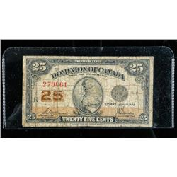 Dominion of Canada 1923 25 Cent Note. 2  Signature Sets