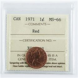CANADA 1971 One Cent Red, MS-66. ICCS