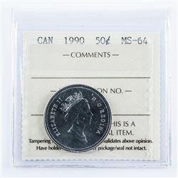 1990 Canada 50 cent MS64. ICCS