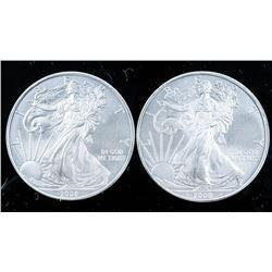 Lot (2) USA 2008 Eagle .999 Fine Silver  Dollar Coins