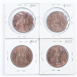 Group of (4) UK/Great Britain Large 1 Penny  1962-1965 MS64-65