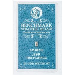 .9999 Fine Pure Platinum Bar with C.O.A.
