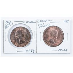 Lot (2) Great Britain 1967 Large Penny MS64