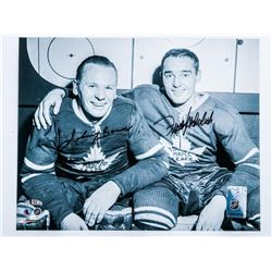 Vintage 8x10 Photo Frank Mahovlich and Johnny  Bower Signed