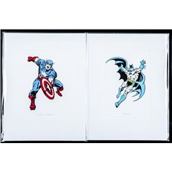 Pair 'Batman and Captain America' 4x6 Matted  Litho's