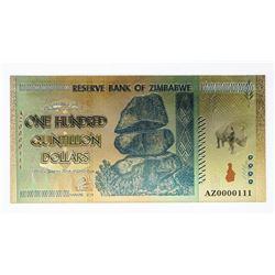 24kt Gold Leaf Reserve of Zimbabwe Note.