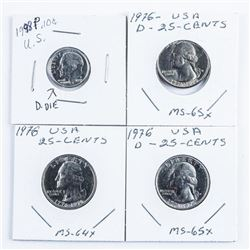 Group of (4) USA Coins MS64-MS65