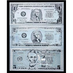 Group (3) .999 Fine Pure Silver Leaf USA  Collector Notes