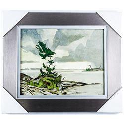 "A.J. Casson (1898-1992) Brushworks Collection  Studio/Litho Panel 'Birchwood' Gallery Frame  18x21"""