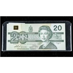 Bank of Canada 1991 $20.00 Note Choice UNC  BC58ai with Serifs