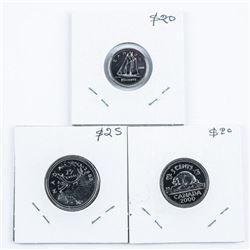 Group of (3) 2000-W Coins - 10 cent, 25 cent,  5 cents. MS67 - PL67 - PL70