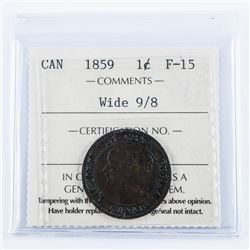 Canada 1859 Large Cent F15 Wide 98 ICCS