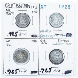 Group of (4) Great Britain 6 Pence Coins  1911, 1918, 1925, 1926 925 Silver