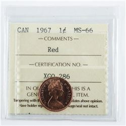 CANADA 1967 One Cent Red, MS-66. ICCS