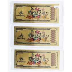 Group of (3) Disney - 24kt Gold Plated  Million Dollar, Novelty Notes.