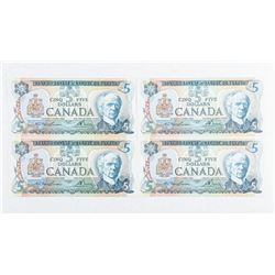 Lot (4) Bank of Canada 1979 5.00 GEM UNC In  Sequence