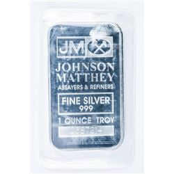 Vintage JM .999 Fine Silver 1oz Bar  Serialized