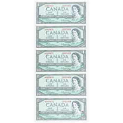 Group of (5) Bank of Canada 1954 1.00  Modified Portrait (J/O) B/R In Sequence  Choice UNC BC37b