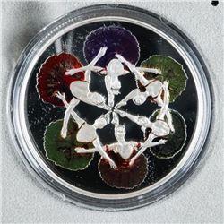Royal Winnipeg Ballet .9999 Fine Silver  $20.00 Coin with Colour