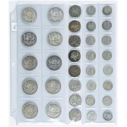 Group of (34) Canada Silver Coins - 10 Cents  - 25 cents - 50 Cents