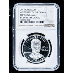 2011 - Constitution of The Crown 'Prince  William' $15.00 Coin PL68 Ultra Cameo NGC