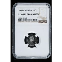 1965 CANADA 10 Cents PL Ultra 66 Cameo NGC