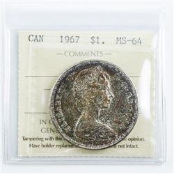 1967 Canada Silver Dollar MS64. ICCS