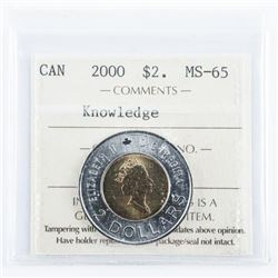CANADA 2000 2.00 Coin 'Knowledge' MS-65. ICCS