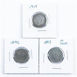 Group (3) USA V 5 Cents: 1892, 1883, 1909  SCARCE