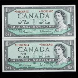 Lot of (2) Bank of Canada 1954 1.00 GEM UNC  * Replacements In sequence, Low 4 Digit  Numbers, 686