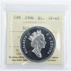1996 Canada Silver Dollar UHC Proof Silver  Dollar PF67 ICCS