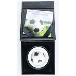 One Troy Ounce .999 Fine Silver Domed Soccer  Round 1oz ASW