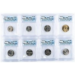 Group (8) USA Coins SP69 ICG. First Strikes,  Satin Finish