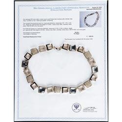 Custom designer Necklace 925 Silver, Yellow  Gold Plated 245 Swarovski Elements - 40ct,  101grams. C