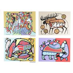 """Norval Morrisseau (1931-2007) 'A Shaman's  Vision' Folio with 4 Images 11x14"""" Unframed.  Matched Edi"""