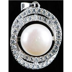 Estate 925 Sterling Pendant, 12mm Freshwater  Pearl, with 50 AA 'CZ' 2.50cts Never Worn.