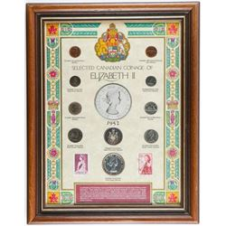"""Selected Coinage of Elizabeth II Stamps and  Coins Framed. 11x14"""""""