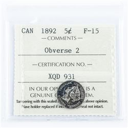 Canada 1892 5 cents F-15. ICCS