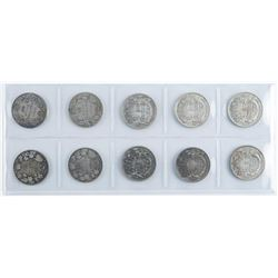 Group of (10) Silver Canada 50 Cents - Early  Years