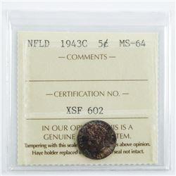 NFLD 1943C 5 Cents MS64. ICCS