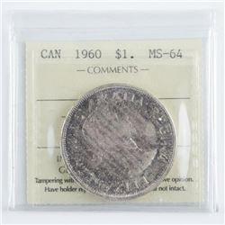 1960 Canada Silver Dollar MS64 ICCS