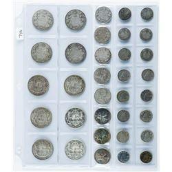 34pc Canada Silver Coin Collection, .10, .25,  .50