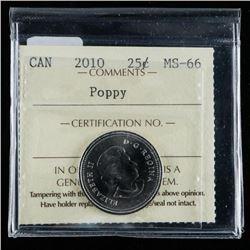 Canada 2010 25 Cents Poppy - ICCS