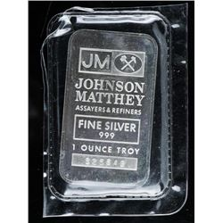 Scarce JM .999 Fine Silver 1oz Bar with  Sooter's on Back of the Bar. JM Bars, No  Longer Produced