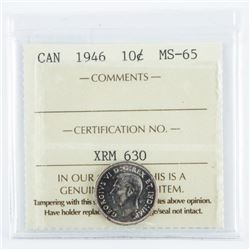Canada 1946 10 Cents MS65 ICCS