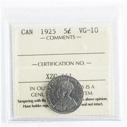 1925 Canada 5 Cents VG-10. ICCS.