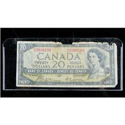 Bank of CANADA 1954 20.00 Note Devil's Face  C/T