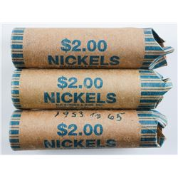 Group of (3) Rolls Canada Nickels, George VI  Small Head Queen etc