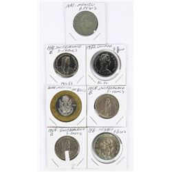 Group (7) World Coins: Switzerland, 1972 CAD  Dollar PL70, Mexico Pesos (MMR)