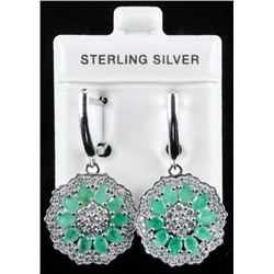 925 Sterling Silver Earrings 20 Natural Cut  Emeralds 2.60ct and 92ct cz. Appraised:  $1890.00